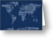 World Map Poster Digital Art Greeting Cards - Map of the World Map from Old Sheet Music Greeting Card by Michael Tompsett
