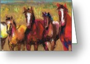 Horse Drawings Greeting Cards - Mares and Foals Greeting Card by Frances Marino