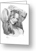 Pencil Drawing Greeting Cards - Mariah Carey Greeting Card by Murphy Elliott