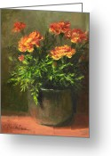 Orange Prints Greeting Cards - Marigolds Greeting Card by Linda Jacobus