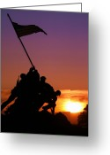 Flag Greeting Cards - Marine Corps Memorial Greeting Card by Mitch Cat