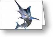 Animal Themes Digital Art Greeting Cards - Marlin Greeting Card by Corey Ford