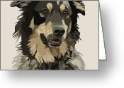 Dog Portrait Digital Art Greeting Cards - Marvelous Mix II Greeting Card by Kris Hackleman