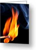 Ignite Greeting Cards - Matchstick bursting to flame Greeting Card by Pics For Merch