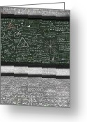 Studying Pastels Greeting Cards - Maths Formula On Chalkboard Greeting Card by Setsiri Silapasuwanchai