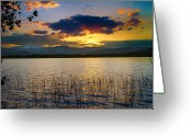 Sunset Wall Art Greeting Cards - McIntosh Lake Sunset Greeting Card by James Bo Insogna