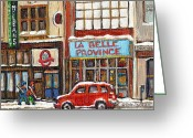 Life In The City Greeting Cards - Mcleans Irish Pub Montreal Greeting Card by Carole Spandau