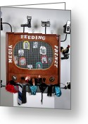 Feeding Mixed Media Greeting Cards - Media Feeding Frenzy Greeting Card by Bill Czappa