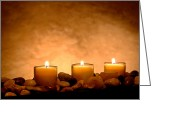 Pebbles Greeting Cards - Meditation Candles Greeting Card by Olivier Le Queinec