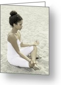 African American Female Greeting Cards - Meditation Greeting Card by Joana Kruse