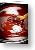 Dark Greeting Cards - Melted chocolate and spoon Greeting Card by Elena Elisseeva
