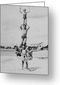 Five People Greeting Cards - Men And Girl Perform Acrobatics On Beach Greeting Card by Archive Holdings Inc.