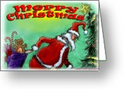 Santa Claus Greeting Cards - Merry Christmas Greeting Card by Kevin Middleton