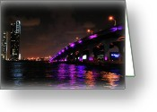 City Skylines Greeting Cards - Miami Skyline at Night 2 Greeting Card by Amanda Vouglas