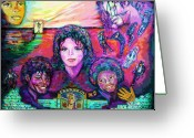 Michael Jackson Greeting Cards - Michael Jackson 4-Everland Greeting Card by Regina Brandt