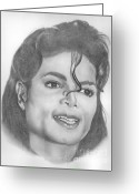 Michael Jackson Greeting Cards - Michael Jackson Greeting Card by Karen  Townsend