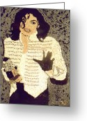 Portrait Reliefs Greeting Cards - Michael Jackson Greeting Card by Kovats Daniela