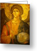 Byzantine Photo Greeting Cards - Michael the Archangel Greeting Card by Ellen Henneke