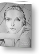 Grey Drawings Greeting Cards - Michelle Greeting Card by Robert Ball