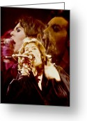Rolling Stones Greeting Cards - Mick Trio Greeting Card by Sandy Ostroff