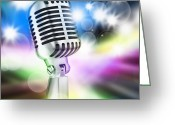 Karaoke Greeting Cards - Microphone On Stage Greeting Card by Setsiri Silapasuwanchai