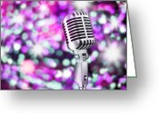 Live Music Greeting Cards - Microphone Greeting Card by Setsiri Silapasuwanchai