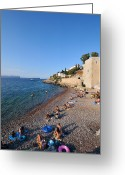 Suntan Greeting Cards - Mikro Kamini beach Greeting Card by George Atsametakis
