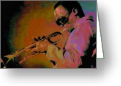 Glasses Greeting Cards - Miles Davis Greeting Card by Byron Fli Walker