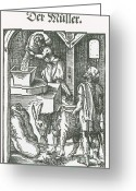 Mill Stone Greeting Cards - Millers, Medieval Tradesmen Greeting Card by Science Source