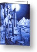 Lord Of The Rings Mixed Media Greeting Cards - Minas Tirith Greeting Card by Curtiss Shaffer