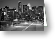 Minnesota Greeting Cards - Minneapolis Skyline from Stone Arch Bridge Greeting Card by Jon Holiday