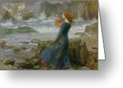 Windy Greeting Cards - Miranda Greeting Card by John William Waterhouse