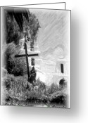 Pencil Drawing Greeting Cards - Mission San diego Greeting Card by Gary Brandes
