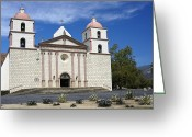Franciscan Greeting Cards - Mission Santa Barbara Greeting Card by Michele Burgess