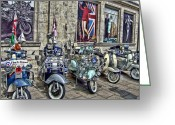 Scooter Greeting Cards - Mod scooters and 60s fashion Greeting Card by Jasna Buncic