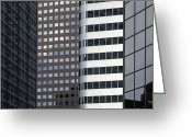 Architecture Greeting Cards - Modern High Rise Office Buildings Greeting Card by Roberto Westbrook