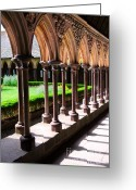 Gothic Arch Greeting Cards - Mont Saint Michel cloister  Greeting Card by Elena Elisseeva