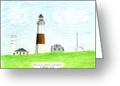 Historic Lighthouse Drawings Greeting Cards - Montauk Point Lighthouse Greeting Card by Frederic Kohli
