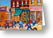 Hockey Street Scenes In Montreal Greeting Cards - Montreal Paintings Greeting Card by Carole Spandau
