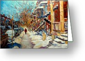 Carole Spandau Restaurant Prints Greeting Cards - Montreal Street In Winter Greeting Card by Carole Spandau