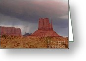 Storm Prints Greeting Cards - Monument Valley - Rain Coming Greeting Card by Merton Allen