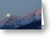 Moonrise Greeting Cards - Moon And Alpenglow Greeting Card by Yuichi Takasaka