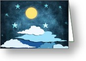 Layer Digital Art Greeting Cards - Moon And Stars Greeting Card by Setsiri Silapasuwanchai