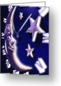 Clock Greeting Cards - Moon Glow Greeting Card by Mike McGlothlen