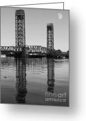 Sacramento River Greeting Cards - Moon Over The Rio Vista Drawbridge in Rio Vista California Greeting Card by Wingsdomain Art and Photography