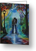 Couples Painting Greeting Cards - Moonlight Kiss Greeting Card by Leslie Allen