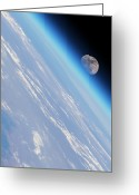 Rising From Earth Greeting Cards - Moonrise Over Earth Greeting Card by Detlev Van Ravenswaay