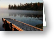 Canada Digital Art Greeting Cards - Morning mist over Lynx Lake in Northern Saskatchewan Greeting Card by Mark Duffy