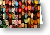 Handicraft Greeting Cards - Moroccan Babouches Greeting Card by Ralph Ledergerber
