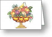 Apricot Painting Greeting Cards - Mosaic Fruit Vase Greeting Card by Irina Sztukowski